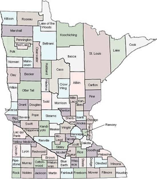 Map of Minnesota Counties